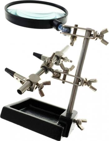 Lupa de masa 90mm cu cleme si suport ajustabil de masa