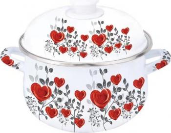 Oala emailata din otel carbon cu capac Grunberg GR2600/INIMIOARE Vase pentru gatit