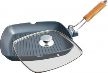 Tigaie grill din aluminiu cu capac Grunberg HXG20LD Dimensiune 20x20 cm Vase pentru gatit
