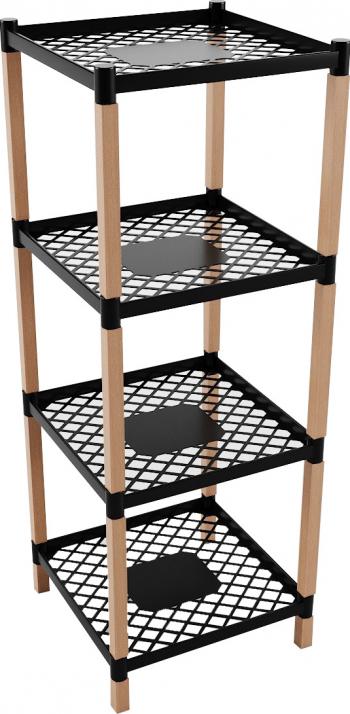 Etajera multifunctionala cu 4 polite din lemn si plastic Dimensiuni 38.50 x 45.50 x 109 cm SINBO BIE7209 Biblioteci si rafturi