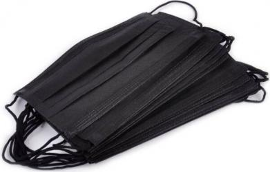 Masca de protectie de unica folosinta 50 bucati 3 straturi neagra Masti chirurgicale si reutilizabile
