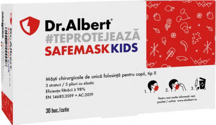 Set 30 Masti Protectie Faciala Dr. Albert SafeMask Kids Tip II 3 Straturi 3 Pliuri - ROCPDA30