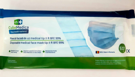 Set 5 x Masca medicala chirurgicala protectie 3 straturi Certificate Tip II R BFE 99 SR EN14683+AC 2019 Masti chirurgicale si reutilizabile