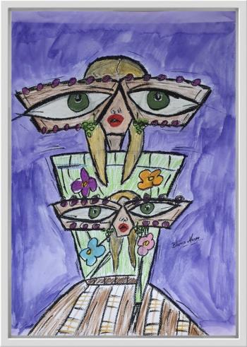 Tablou pictat manual in ulei pastel Elle 50x70 cm Tablouri
