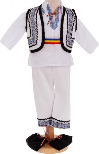 Costum popular botez Ilie 5 piese alb-albastru 3-6 luni
