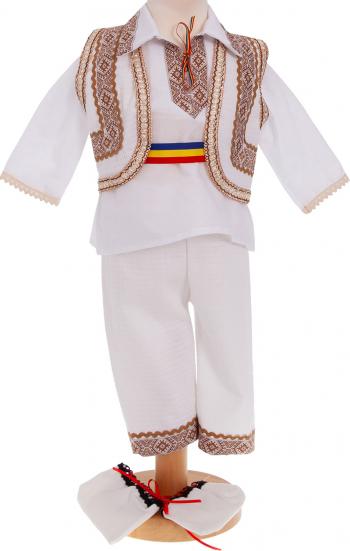 Costum popular Danut 5 piese alb-auriu 0-3 luni