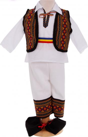 Costum popular traditional botez Codrin maneca lunga 5 piese alb-portocaliu 0-3 luni