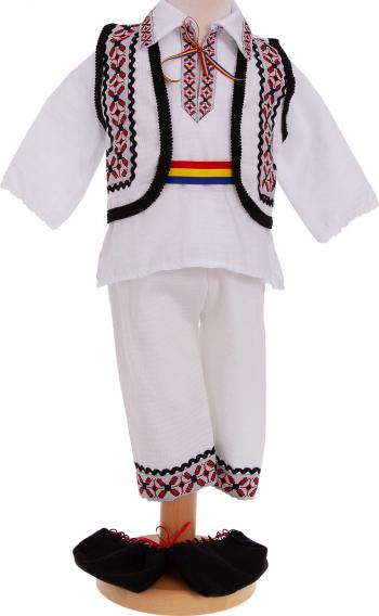 Costum popular traditional botez Ghita maneca lunga 5 piese alb-rosu 0-3 luni