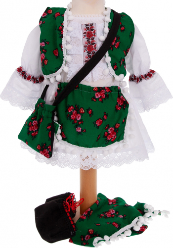 Costum popular traditional Sanziana maneca lunga 6 piese alb-verde 3-6 luni