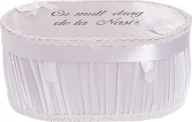 Cufar cutie trusou botez personalizat culoare alb satin
