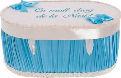 Cufar cutie trusou botez personalizat culoare bleu-alb satin Articole botez