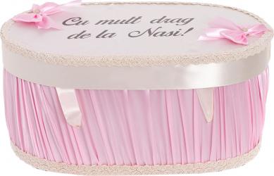 Cufar cutie trusou botez personalizat culoare roz - ivoire satin