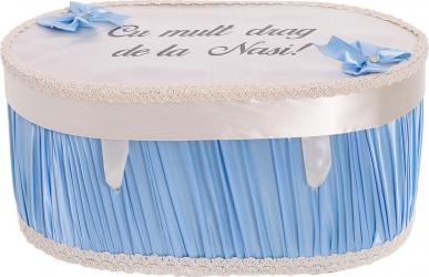 Cufar cutie trusou botez personalizat culoare turcoaz-alb satin