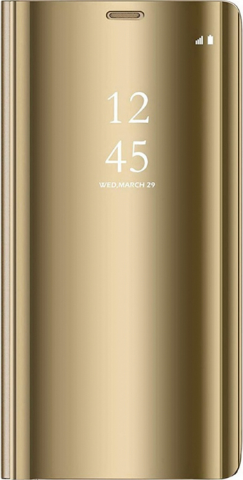 Husa Protectie Toc Flip Cover Clear View Mirror Samsung Galaxy A12 Gold