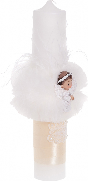 Lumanare botez alb/crem Angel tul si ingeras 35x6cm Articole botez
