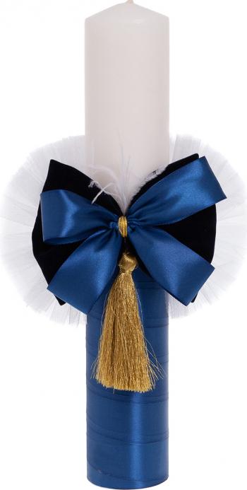 Lumanare botez eleganta cu funda lucrata manual culoare alb-bleumarin 37x6cm