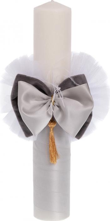 Lumanare botez eleganta cu funda lucrata manual culoare alb-gri 37x6cm