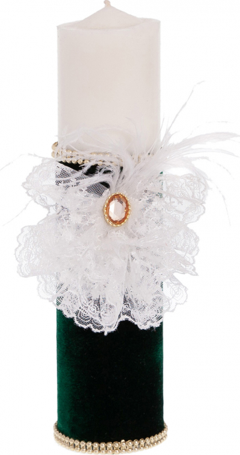 Lumanare botez eleganta print lucrata manual imbracata in catifea culoare verde