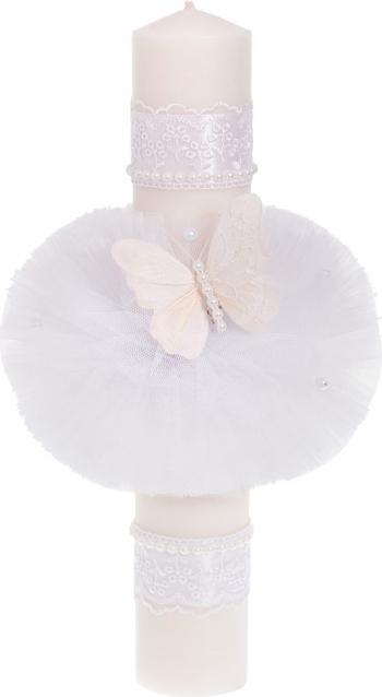 Lumanare botez fluturas culoare alb 37x6 cm Articole botez
