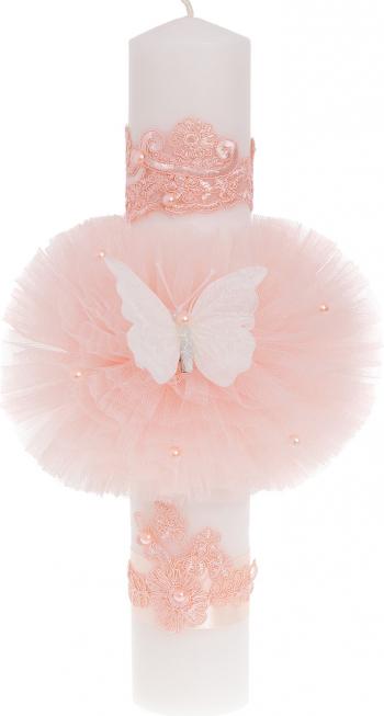 Lumanare botez fluturas culoare roz 37x6 cm Articole botez