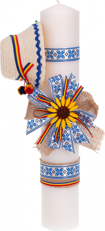 Lumanare botez traditionala cu clop culoare albastru 37x6 cm