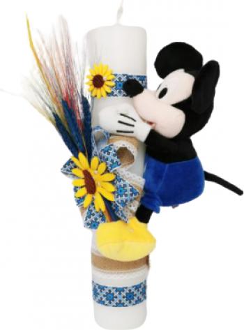 Lumanare botez traditionala cu jucarie Mickey 35x5 cm