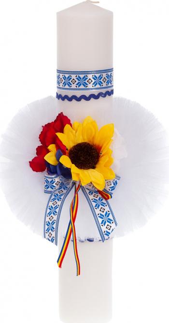 Lumanare botez traditionala culoare alb-albastru 37x6 cm Articole botez