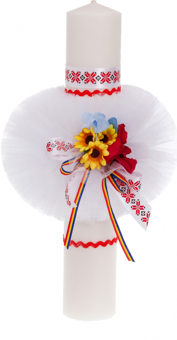 Lumanare botez traditionala culoare alb-rosu 37x6 cm
