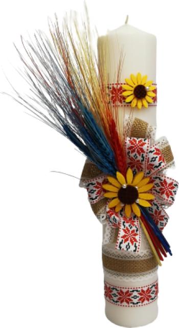 Lumanare botez traditionala Red 35x5cm tricolor