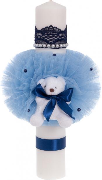 Lumanare botez ursulet culoare bleumarin 37x6 cm