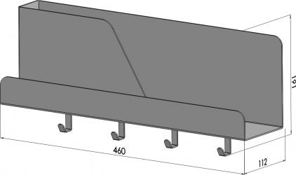 Organizator de perete cu 4 agatatori si suport metal pink 46 x 11 x 19 cm