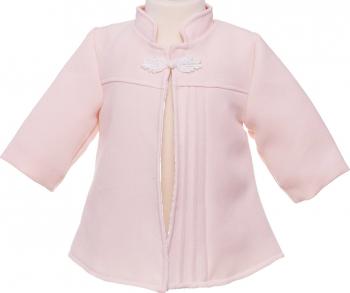 Pardesiu fata botez Angel culoare roz maneca lunga 6-9 luni