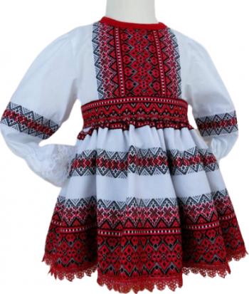 Rochita botez popular traditionala Stela 2 piese alb/rosu 0-3 luni
