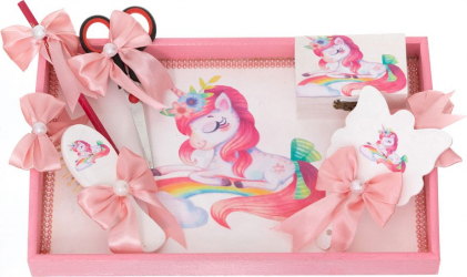 Set Tavita Mot/Turta Unicorn personalizat cu nume si data 6 piese culoare roz