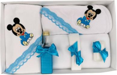 Trusou botez brodat Baby Mickey turcoaz 7 piese