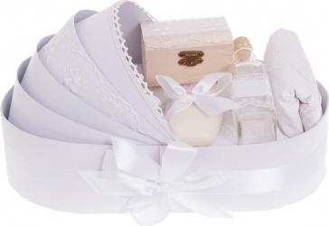 Trusou botez complet in landou cu decor elegant de culoare alb 8 piese