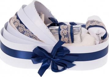 Trusou botez complet in landou cu decor elegant de culoare alb / bleumarin 8 piese