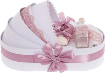 Trusou botez complet in landou cu decor elegant de culoare roz pal 8 piese Articole botez