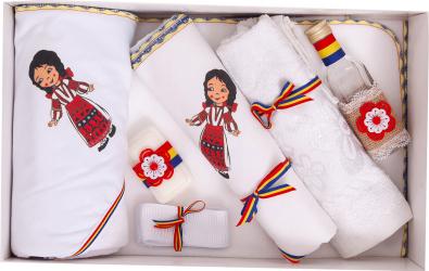 Trusou botez traditional complet Marioara culoare alb-rosu 7 piese