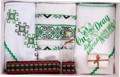 Trusou botez traditional Ingerasi culoare alb-verde 6 piese