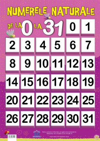 Numerele naturale 0-31 - plansa educativa Didactica Publishing House Jucarii Interactive