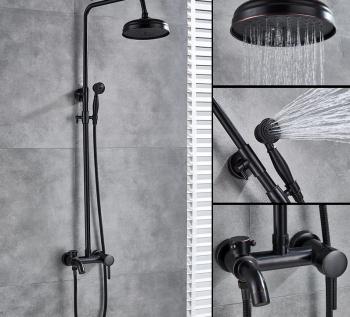 Coloana Dus negru LIVORNO cu para rotunda si efect de ploaie negru mat cu margini bronz para ajustabila pe inaltime