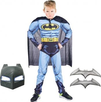 Costum Batman cu muschi pentru copii M 5 - 7 ani masca inclusa si batarang