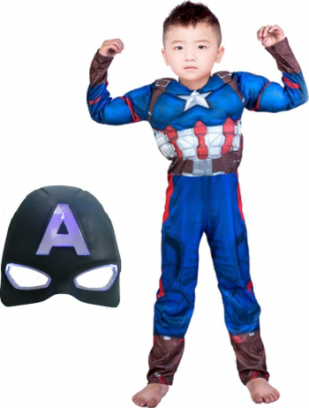 Costum Captain America cu muschi marimea M 5-7 ani masca inclusa Costume serbare