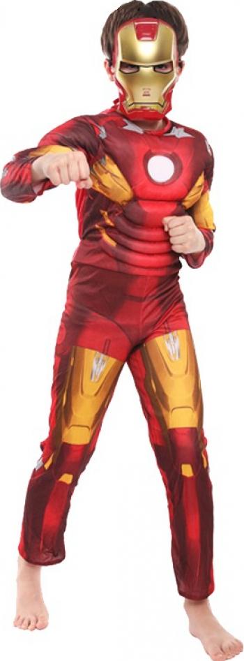 Costum cu muschi Iron-Man marimea M 5-7 ani masca inclusa