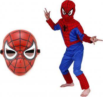 Costum Spiderman Infinity pentru copii M 110 - 120 CM 5 - 7 ani masca textila si de plastic incluse