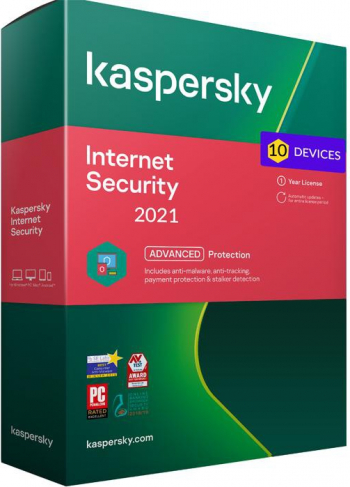 Kaspersky Internet Security 2021 10 Dispozitive /1 An - windows/mac/android Antivirus