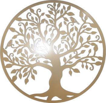 Decor perete Copacul vietii Arborele Vietii 75x75 Model 1 Auriu