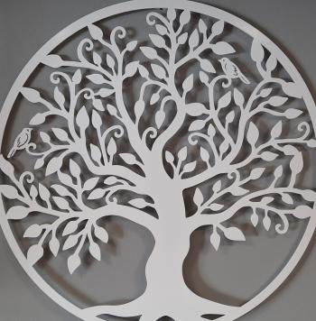 Decor perete Copacul vietii Arborele Vietii 90x90 Model 1 Alb