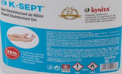 Gel Igienizant de Maini 5L K-Sept 75 Alcool cu Aloe Vera Gel antibacterian